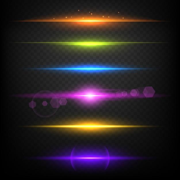 Línea resplandor fronteras. plantilla de ráfaga lineal iluminada con luz de neón Vector Premium