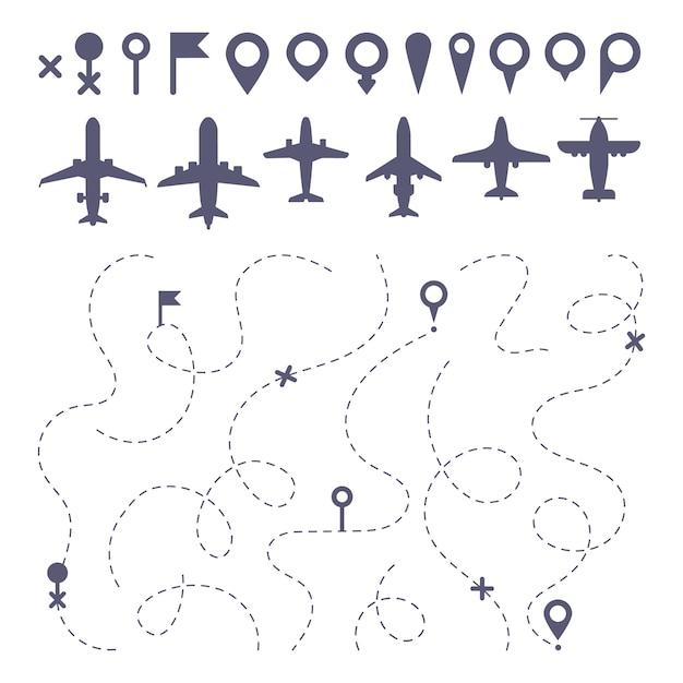 Línea de ruta plana. planos de líneas de puntos de ruta, constructor de mapa de dirección de ruta de vuelo y conjunto de iconos de avión Vector Premium
