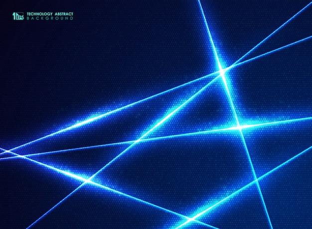 Línea de tecnología azul abstracta de patrón de puntos de diseño de energía para el fondo de datos grandes. Vector Premium