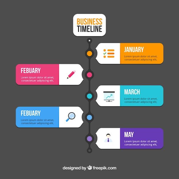 Línea temporal de negocios colorida con diseño plano vector gratuito