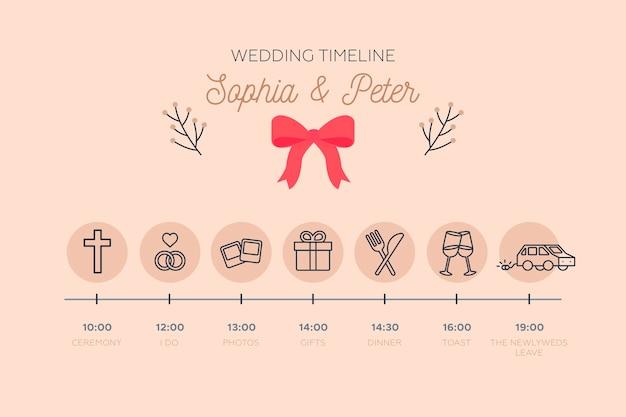 Línea de tiempo de boda delicada en estilo lineal vector gratuito
