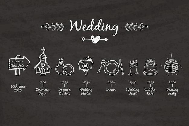 Línea de tiempo de boda plantilla dibujada a mano vector gratuito