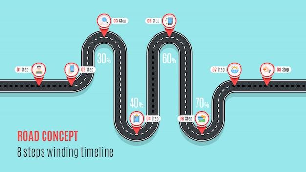 Línea de tiempo del concepto de carretera, gráfico infográfico, estilo plano Vector Premium