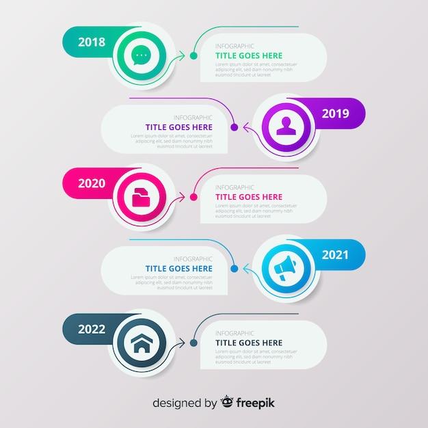 Línea de tiempo infografía con burbujas vector gratuito