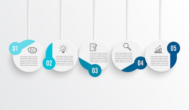 Línea de tiempo infografía coloreada horizontal para cinco posiciones. Vector Premium