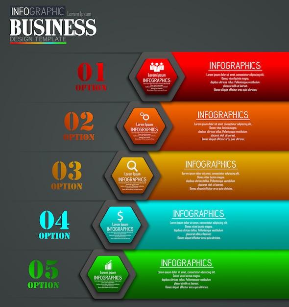 Línea de tiempo infografía datos visualización diseño plantilla concepto de negocio con 5 opciones Vector Premium