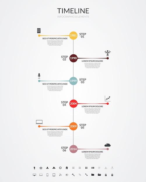 Línea de tiempo infografía, elementos e iconos. vector Vector Premium