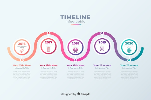 Línea de tiempo infografía profesional vector gratuito