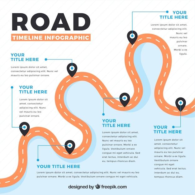 Línea de tiempo infográfica con concepto de carretera vector gratuito