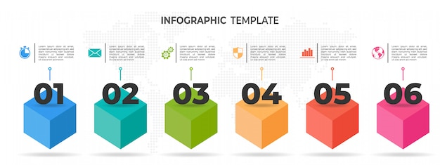 Línea de tiempo moderna infografía 6 opciones Vector Premium