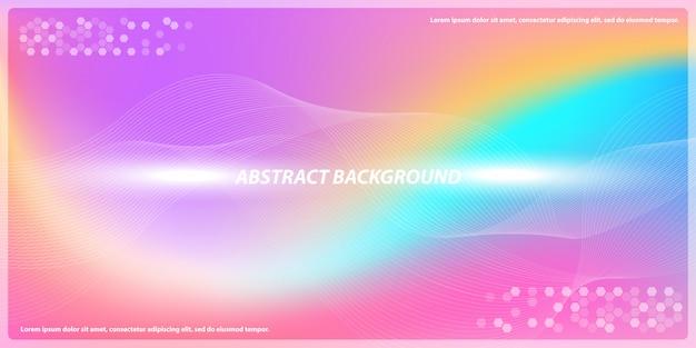 Líneas abstractas gradiente con fondo de banner de arco iris Vector Premium