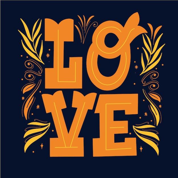 Líneas elegantes y letras de amor vector gratuito