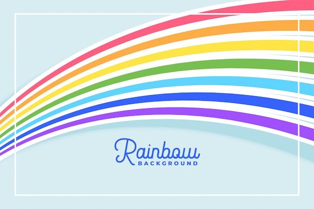 Líneas fluidas del arco iris en fondo de colores planos vector gratuito