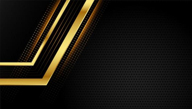 Líneas geométricas doradas brillantes sobre fondo negro vector gratuito
