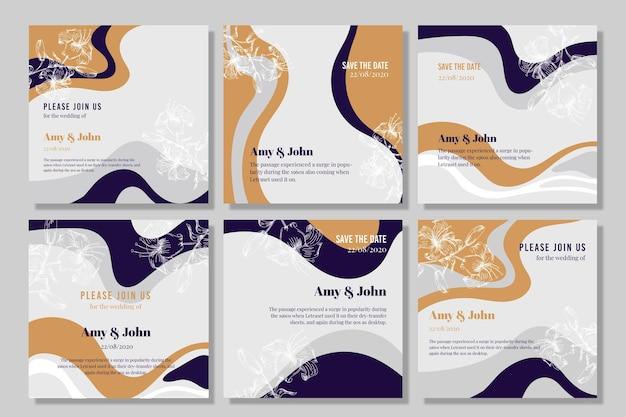 Líneas onduladas tarjetas de invitación de boda vector gratuito