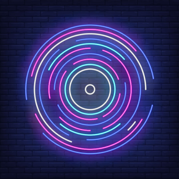 Líneas redondas multicolores en estilo neón. vector gratuito