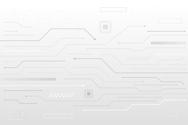 Líneas de transistor fondo blanco tecnología Vector Premium