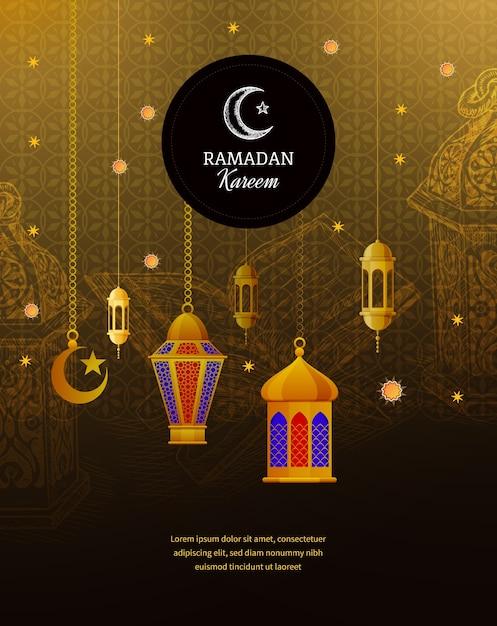 Linternas árabes tradicionales, saludo islámico, media luna adornada dorada, cúpula de mezquita, caligrafía musulmana con firmas. Vector Premium