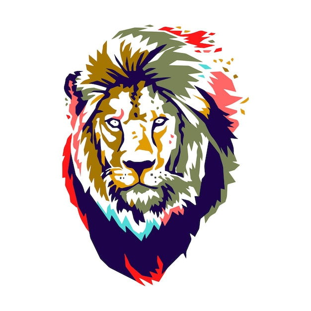 Lion head vector color Vector Premium