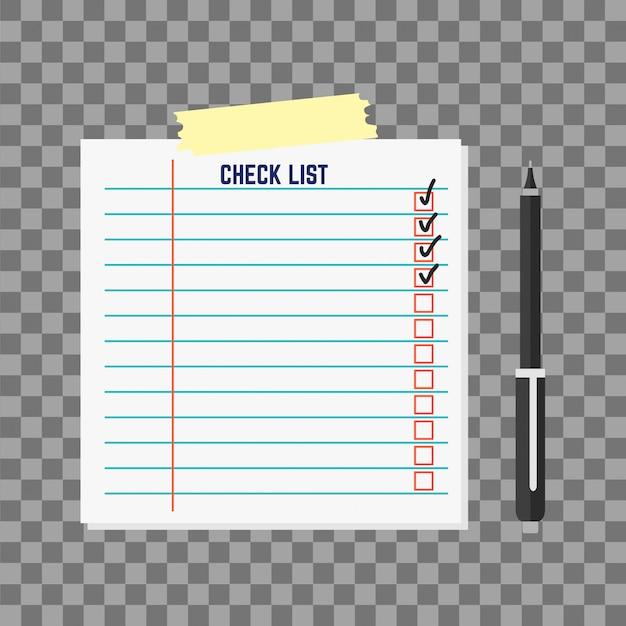 Lista de agenda de papel ilustración vectorial. Vector Premium