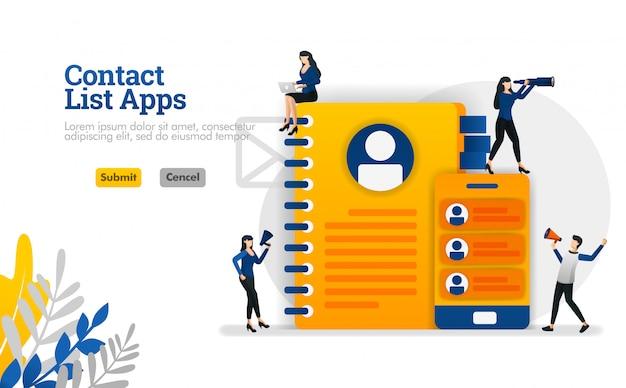 Lista de contactos de aplicaciones para móviles y recordatorios. equipado con libros y teléfonos inteligentes ilustración vectorial Vector Premium