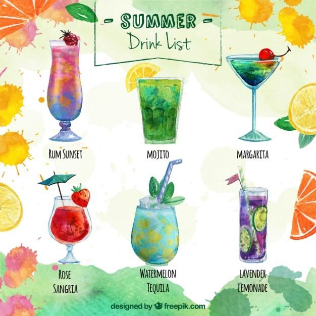 Lista de bebidas deliciosas de verano descargar vectores for List of alcoholic mixed drinks