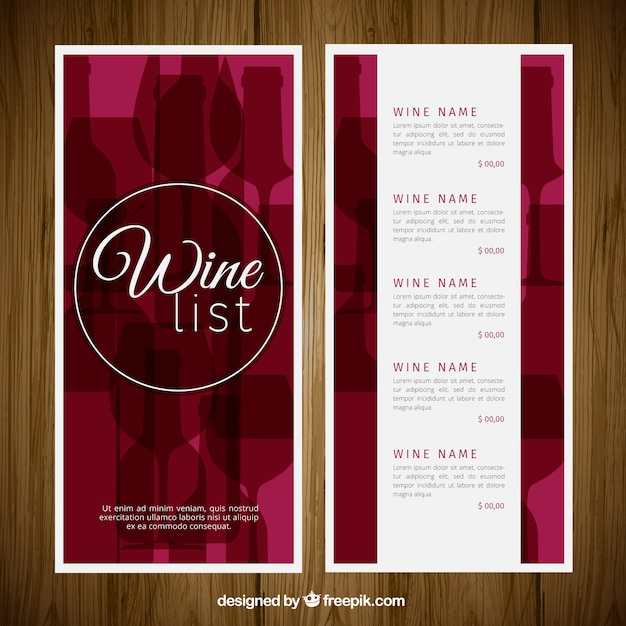 lista de vinos elegante