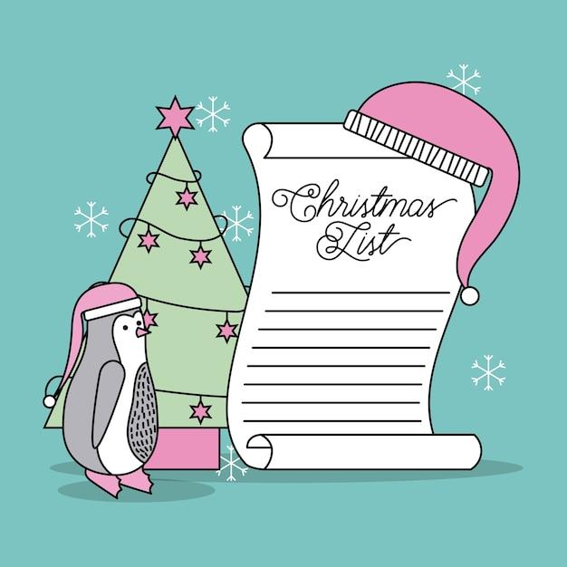 Lista de navidad celebración de árbol y sombrero de pingüino Vector Premium