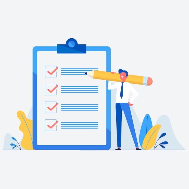 Lista de tareas con hombre de negocios en estilo plano. vector gratuito