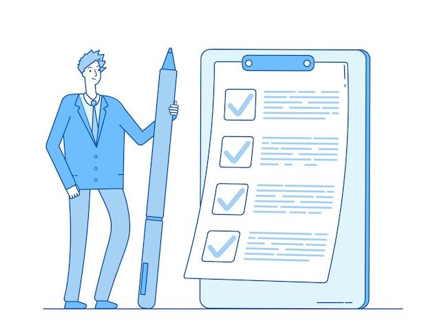 Lista de verificación empresario. persona con lápiz en la lista de tareas en el portapapeles. concepto de inspección de examen de cuestionario completo Vector Premium