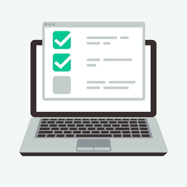 Lista de verificación en línea en la pantalla del portátil. Vector Premium