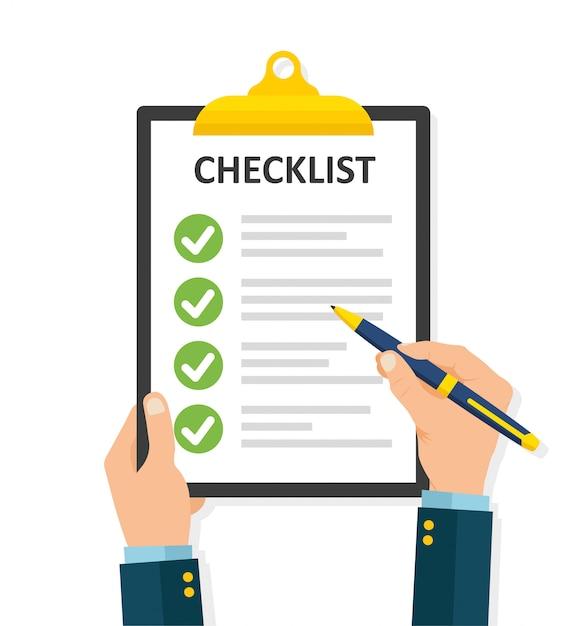 Lista de verificación de llenado a mano en el portapapeles Vector Premium