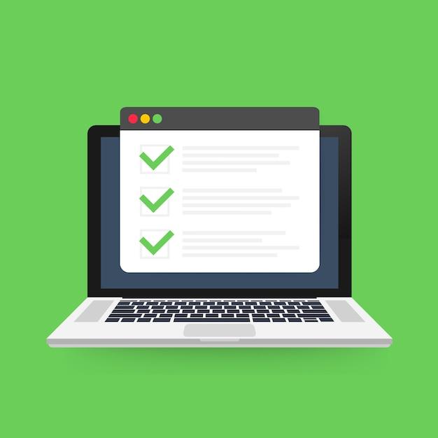 Lista de verificación de la ventana del navegador. Vector Premium