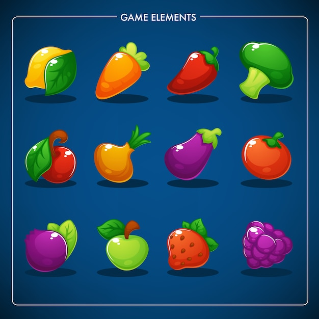 Little farm, match mobile game, juegos de objetos, fegetables, fruits and berries Vector Premium