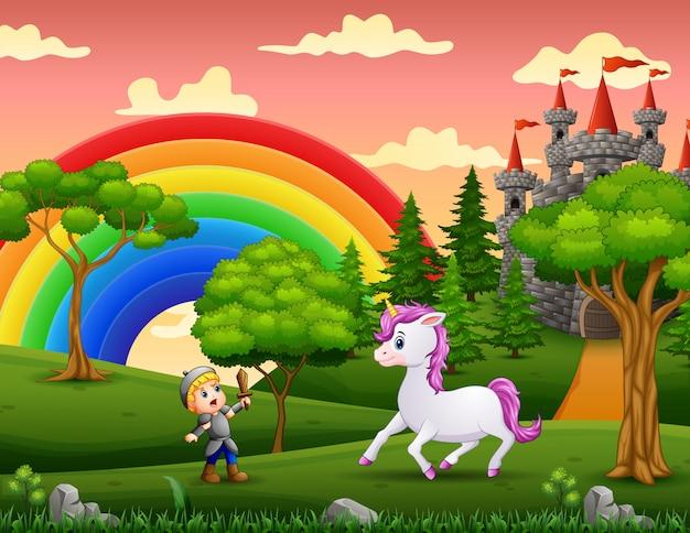 Little knight lucha contra un unicornio en el patio del castillo Vector Premium