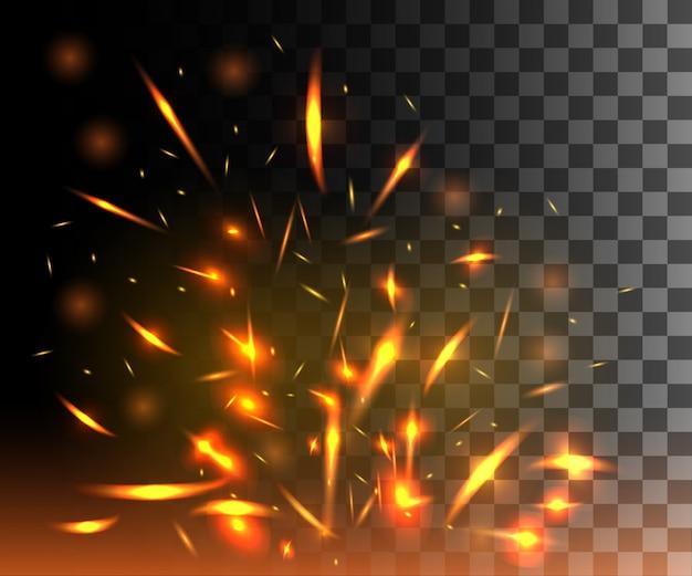 Llama de fuego con chispas que vuelan partículas brillantes sobre fondo transparente oscuro Vector Premium
