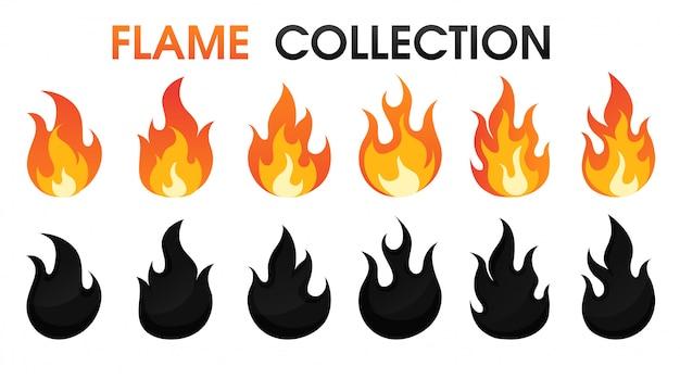 Llama de fuego colección estilo de dibujos animados plana. Vector Premium