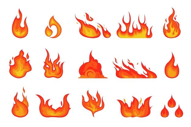 Llama de fuego rojo y naranja. elemento llameante caliente Vector Premium