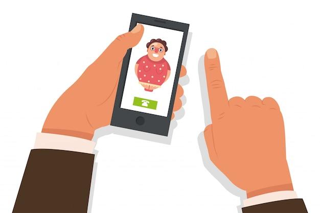 Llama a mama . ilustración plana de dibujos animados con teléfono móvil en mano y llamada entrante de una anciana. Vector Premium