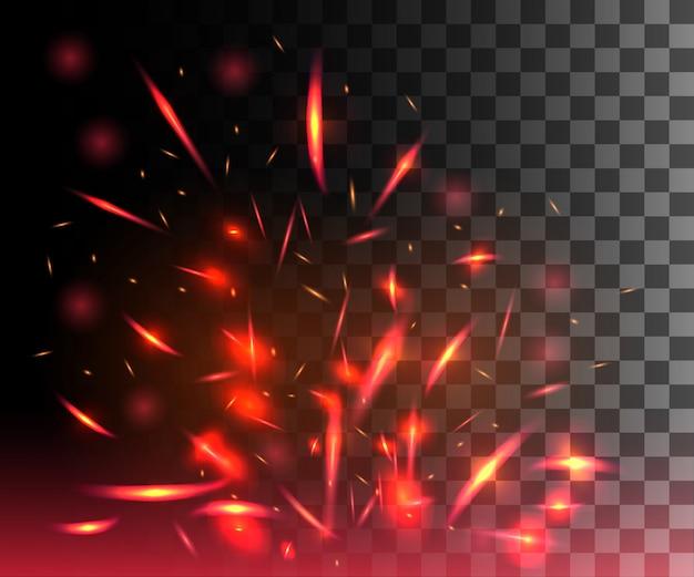 Llama roja de fuego con chispas que vuelan partículas brillantes sobre fondo transparente oscuro Vector Premium