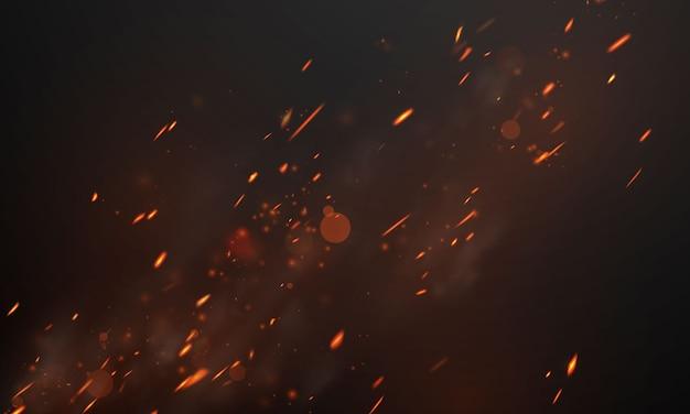 Llamas de fuego ardientes chispas al rojo vivo fondo abstracto realista Vector Premium