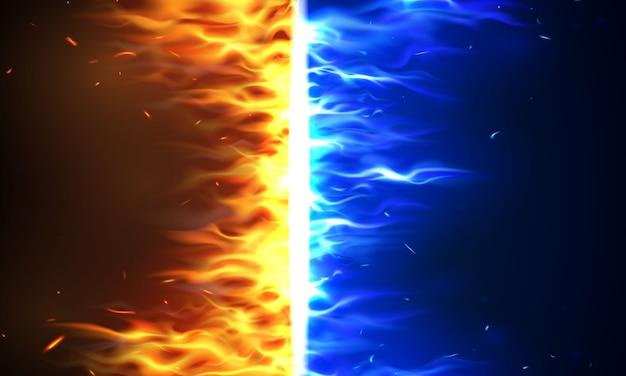 Llamas de fuego versus vs signo explotando por elementos, salpicaduras de agua y relámpagos ardientes chispas al rojo vivo fondo abstracto realista Vector Premium