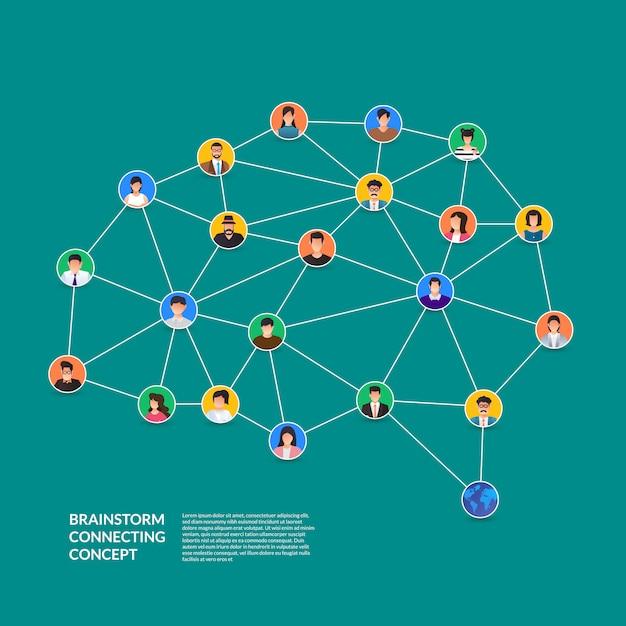 Lluvia de ideas concepto que conecta a las personas. ilustrar. Vector Premium