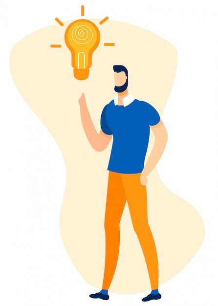 Lluvia de ideas de hombre y creación de ilustración de idea Vector Premium