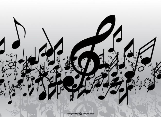 Lluvia de notas musicales vector gratuito