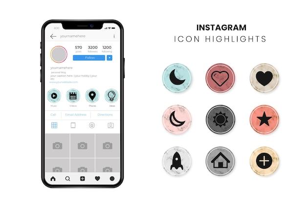 Lo más destacado de las historias de mármol de instagram vector gratuito