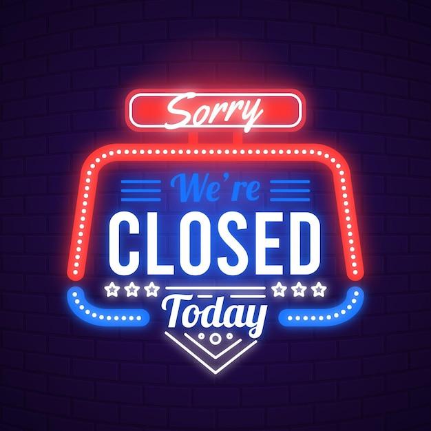 'lo siento, estamos cerrados' cartel en la pared de ladrillo vector gratuito