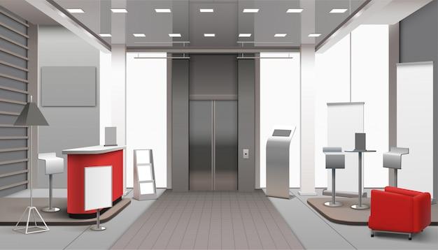 Lobby interior realista vector gratuito