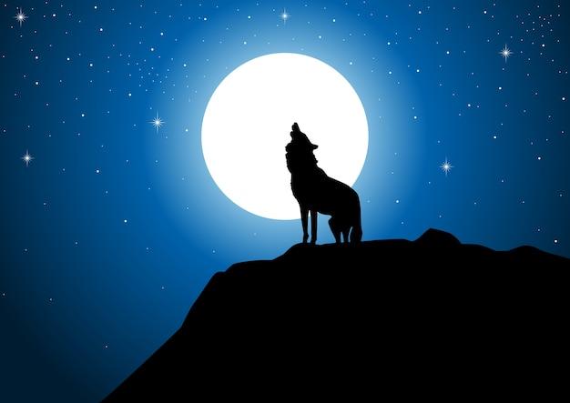 Lobo Aullando A La Luna Llena Descargar Vectores Premium