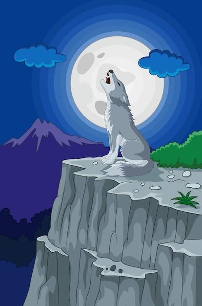 Lobo Aullando Bajo La Luna Llena Descargar Vectores Premium